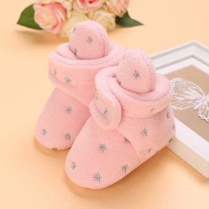 Детские ботинки с вышивкой на липучке SHEIN. Цвет: розовые