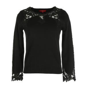 Пуловр с круглым вырезом и кружевом DERHY. Цвет: черный