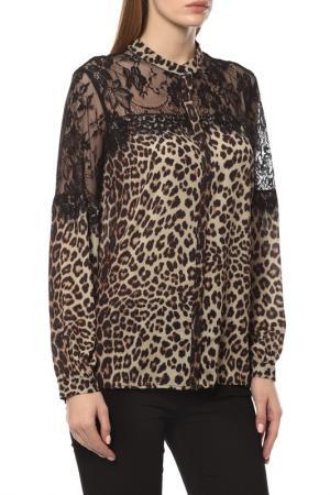 Блузка Sisline. Цвет: черный, коричневый