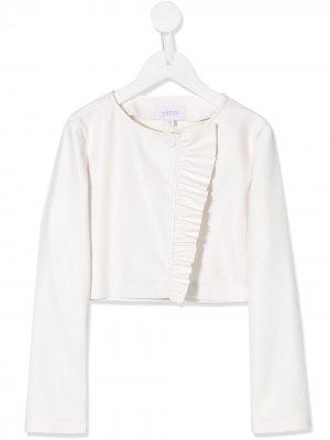Faux-leather ruffled jacket Aletta. Цвет: белый