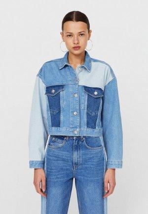 Куртка джинсовая Stradivarius. Цвет: голубой