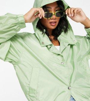 Мятный дождевик в виде куртки-бомбера на пуговицах Petite-Зеленый цвет ASOS DESIGN