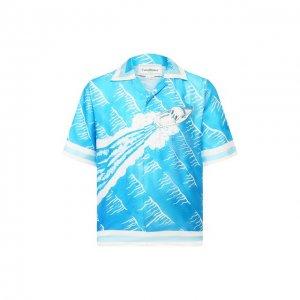 Шелковая рубашка Casablanca. Цвет: синий