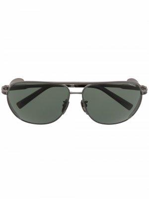 Солнцезащитные очки-авиаторы с тисненым логотипом Chopard Eyewear. Цвет: черный