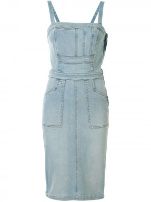 Джинсовое платье Pocket Hustler Mother. Цвет: синий