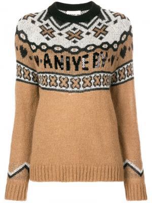 Трикотажный свитер с логотипом Aniye By. Цвет: бежевый