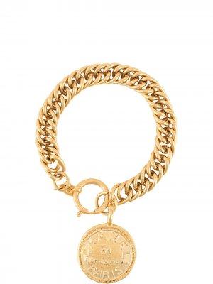 Браслет 1980-х годов с медальоном Chanel Pre-Owned. Цвет: золотистый