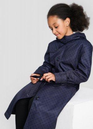 Полупальто для девочек с поясом O`Stin. Цвет: темно-синий