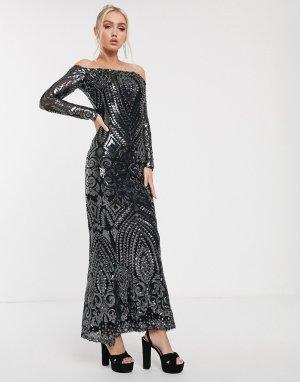 Платье-бандо макси с отделкой темно-серыми пайетками -Черный Goddiva