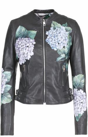 Приталенная кожаная куртка с цветочным принтом Dolce & Gabbana. Цвет: темно-зеленый