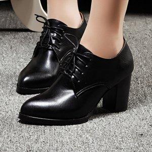 Оксфорды на шнурках массивном каблуке SHEIN. Цвет: чёрный