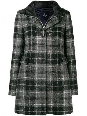 Пальто в шотландскую клетку Fay. Цвет: серый