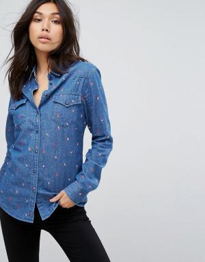 Рубашка с вышитыми кофейными зернами Boss Casual. Цвет: синий