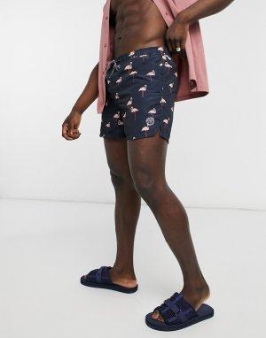 Темно-синие плавательные шорты с принтом фламинго Intelligence-Темно-синий Jack & Jones