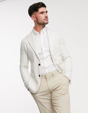 Узкий пиджак в полоску -Белый Gianni Feraud