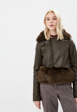 Куртка кожаная Elsi. Цвет: хаки