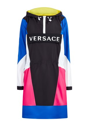 Платье-анорак из нейлона с талией на кулиске и массивной молнией VERSACE. Цвет: мульти