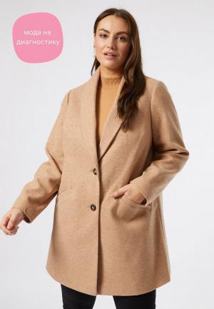 Пальто Dorothy Perkins Curve. Цвет: бежевый