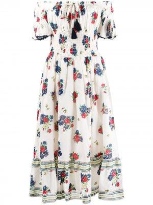 Платье-туника в полоску Tory Burch. Цвет: синий
