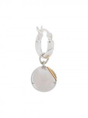 Серьга-кольцо с подвеской Eight ball True Rocks. Цвет: серебристый