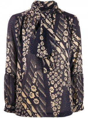 Блузка с цветочным принтом и завязкой Ba&Sh. Цвет: синий