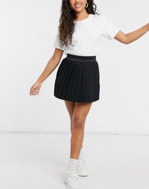 Черная спортивная трикотажная юбка мини с плиссировкой -Черный цвет ASOS DESIGN