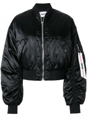 Укороченная куртка бомбер MSGM. Цвет: черный