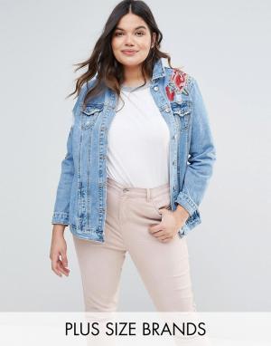 Джинсовая куртка с вышивкой New Look Plus. Цвет: синий