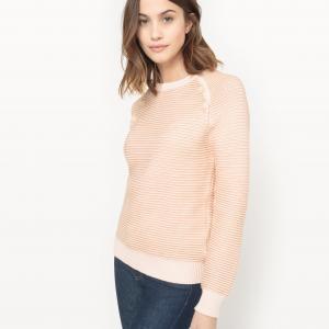 Пуловер в полоску, пуговицы на проймах рукава La Redoute Collections. Цвет: в полоску темно-синий/экрю,в полоску/бежевый
