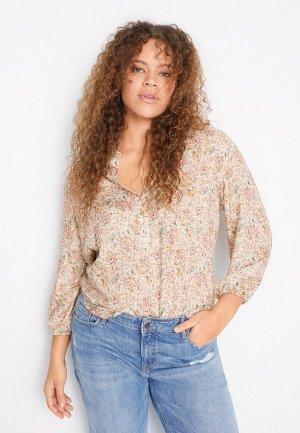 Блуза Violeta by Mango - CLOTY. Цвет: бежевый