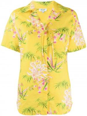 Рубашка с цветочным принтом Kenzo. Цвет: желтый