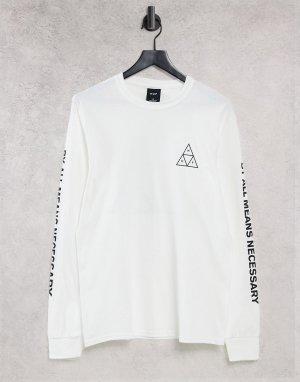 Белая футболка с длинными рукавами Essentials-Белый HUF