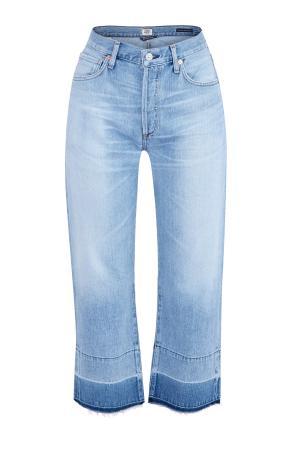 Джинсы wide leg с высокой талией и контрастными кромками CITIZENS OF HUMANITY. Цвет: голубой