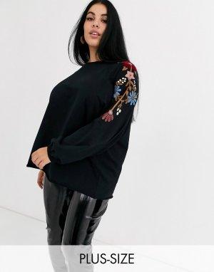 Свитшот с вышивкой на рукавах -Черный Junarose