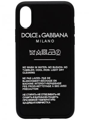 Чехол для iPhone X с принтмо инструкции по уходу Dolce & Gabbana. Цвет: черный