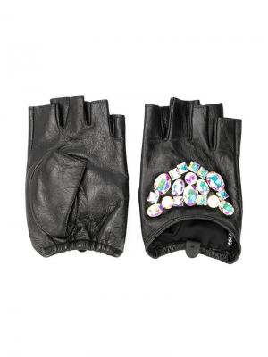 Перчатки с кристаллами Karl Lagerfeld. Цвет: черный