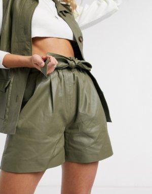 Кожаные шорты с присборенной талией цвета хаки -Зеленый Object