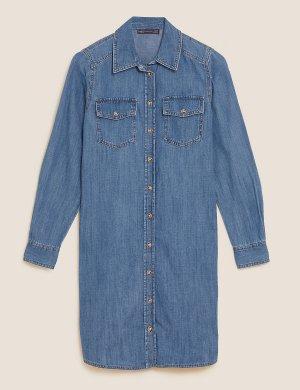 Джинсовое платье-рубашка до колен M&S Collection. Цвет: деним