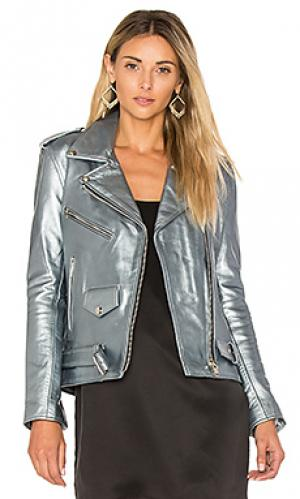 Кожаная байкерская куртка easy rider Understated Leather. Цвет: аспидно-серый