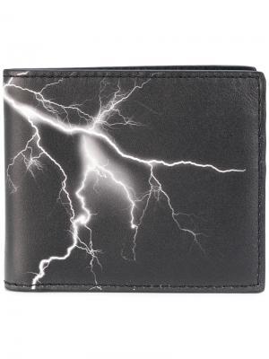 Бумажник с изображением молнии Marcelo Burlon County Of Milan. Цвет: чёрный