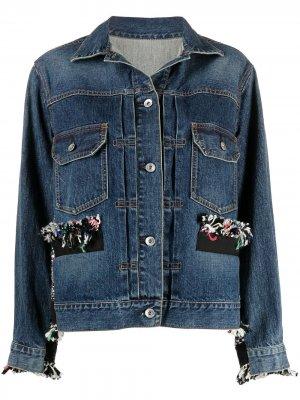 Джинсовая куртка с вязаными вставками Sacai. Цвет: синий