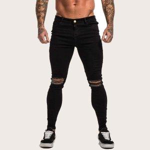 Мужские рваные джинсы с пуговицами SHEIN. Цвет: чёрный