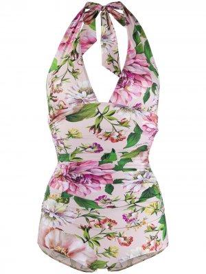 Купальник с цветочным принтом Dolce & Gabbana. Цвет: розовый