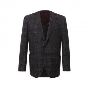 Пиджак из шерсти и шелка Luciano Barbera. Цвет: коричневый