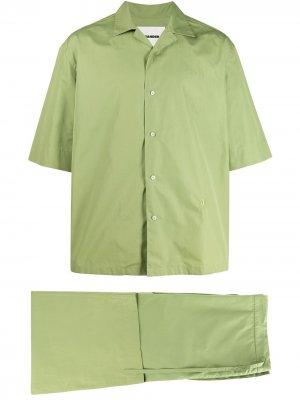 Брючный костюм с вышитым логотипом Jil Sander. Цвет: зеленый