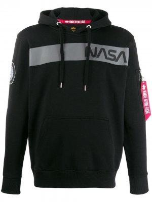 Худи NASA с принтом Alpha Industries. Цвет: черный