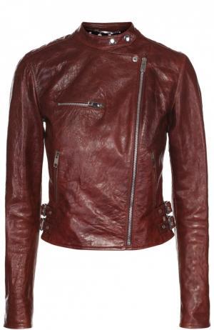 Укороченная кожаная куртка с косой молнией Dolce & Gabbana. Цвет: бордовый