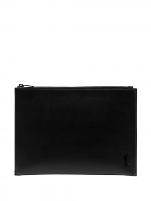 Клатч с монограммой Saint Laurent. Цвет: черный