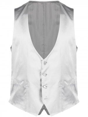 Однобортный жилет Canali. Цвет: серый
