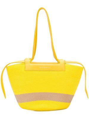 Маленькая сумка-тоут трапециевидной формы Elena Ghisellini. Цвет: желтый